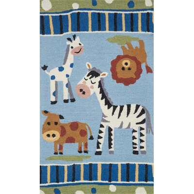Izayah Kids Hand-Hooked Blue Area Rug Rug Size: Rectangle 23 x 39