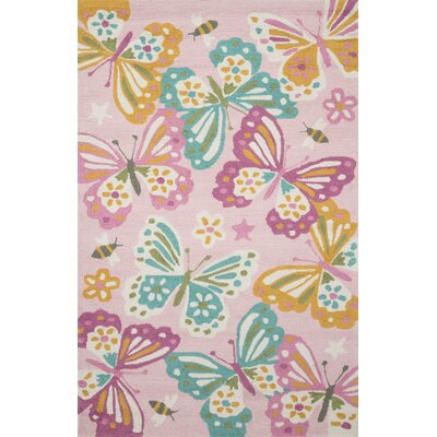 Izayah Kids Hand-Hooked Pink Area Rug Rug Size: Rectangle 36 x 56