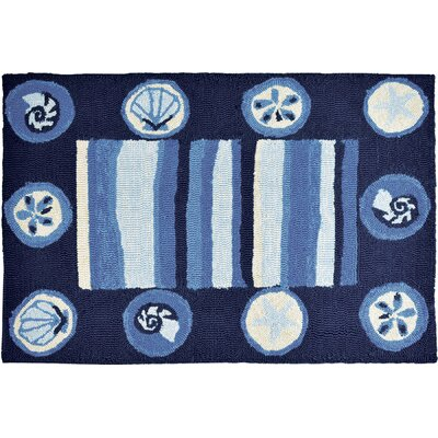 Vu Stripes and Shells Hand-Woven Blue Indoor/Outdoor Area Rug Rug Size: Rectangle 11 x 210