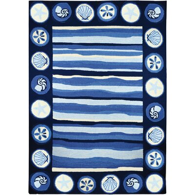 Vu Stripes and Shells Hand-Woven Blue Indoor/Outdoor Area Rug Rug Size: Rectangle 5 x 7