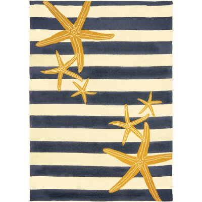 Tiarra Starfish Gunmetal Hand-Woven Blue/Yellow Indoor/Outdoor Area Rug Rug Size: Rectangle 5 x 7