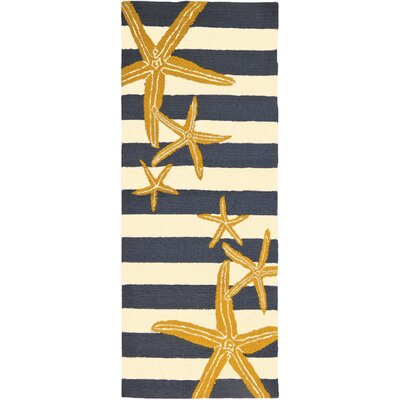 Tiarra Starfish Gunmetal Hand-Woven Blue/Yellow Indoor/Outdoor Area Rug Rug Size: Runner 22 x 5