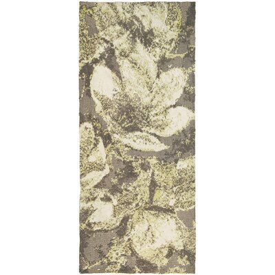 Hansley Magnolias in Bloom Gray Area Rug Rug Size: Runner 22 x 5