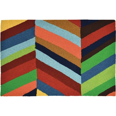 Easter Compton Bold Chevron Hand-Woven Blue/Red Indoor/Outdoor Area Rug Rug Size: Rectangle 11 x 210
