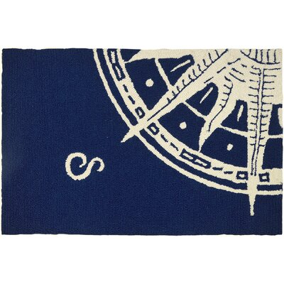 Faris Sailors Compass Hand-Woven Blue Indoor/Outdoor Area Rug Rug Size: Rectangle 11 x 210