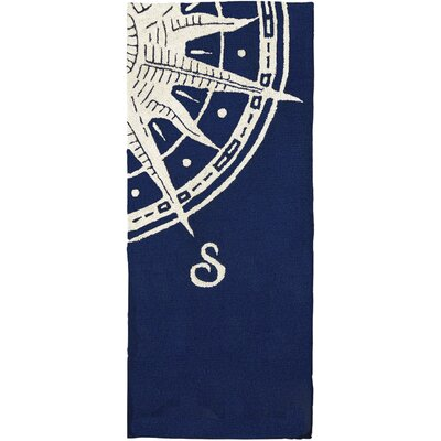 Faris Sailors Compass Hand-Woven Blue Indoor/Outdoor Area Rug Rug Size: Runner 22 x 5