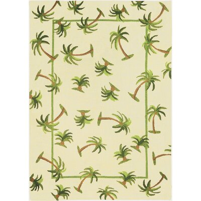 Callaway Palm Hand-Woven Cream Indoor/Outdoor Area Rug Rug Size: Rectangle 5 x 7