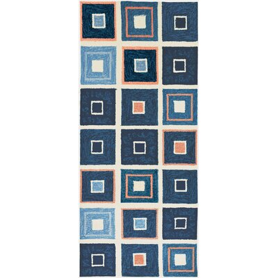 Easterly Beach Tiles Hand-Woven Blue Indoor/Outdoor Area Rug Rug Size: Runner 22 x 5