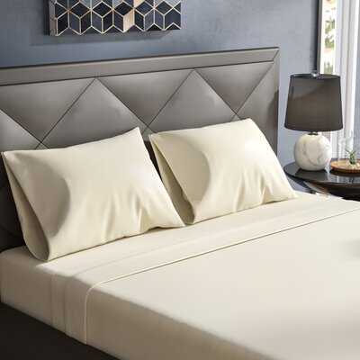 Janey Elegance Satin Sheet Set Size: Queen, Color: Ivory