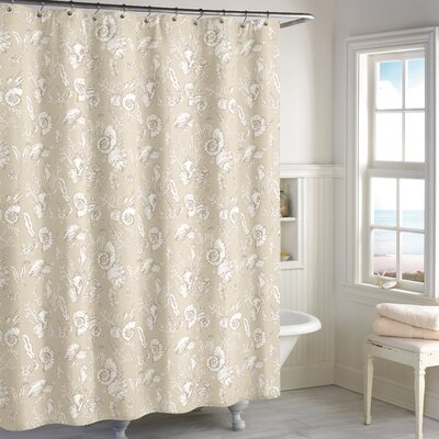 Hundley Seashell Toilet Cotton Shower Curtain Color: Beige