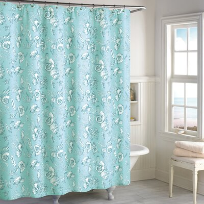 Hundley Seashell Toilet Cotton Shower Curtain Color: Blue