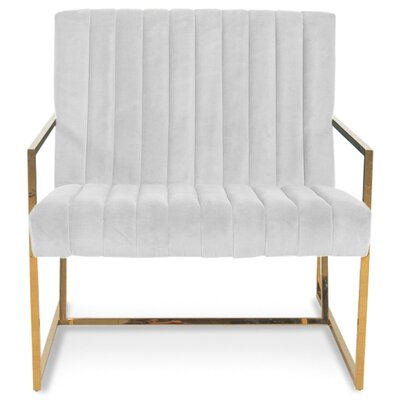 Santorini Long Tufted Armchair Upholstery: Sharkskin