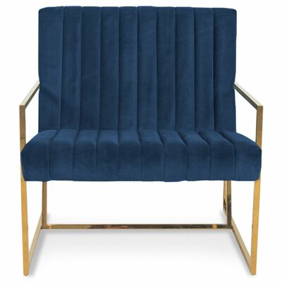 Santorini Long Tufted Armchair Upholstery: Indigo Blue