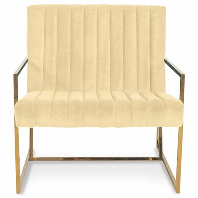 Santorini Long Tufted Armchair Upholstery: Hollandaise