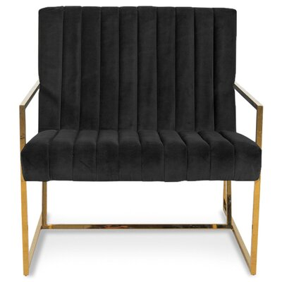 Santorini Long Tufted Armchair Upholstery: Black