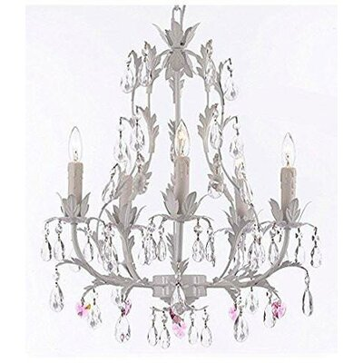 Mohr Floral 5-Light Candle-Style Chandelier Crystal Color: Pink