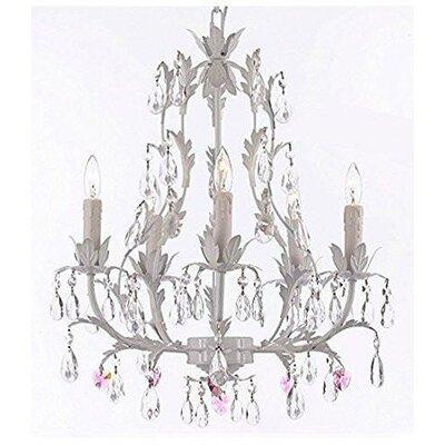 Mohr Floral 5-Light Candle-Style Chandelier Crystal Color: Pink