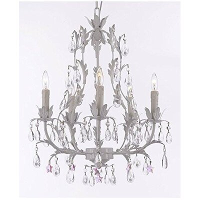 Moises Floral 5-Light Candle-Style Chandelier Crystal Color: Pink