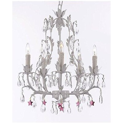 Moises Floral 5-Light Candle-Style Chandelier Crystal Color: Purple