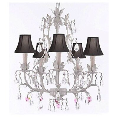 Moldenhauer 5-Light Candle-Style Chandelier Shade Color: Black, Crystal Color: Pink