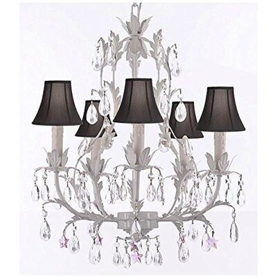 Molina 5-Light Candle-Style Chandelier Shade Color: Black, Crystal Color: Pink