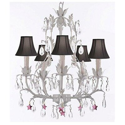Molina 5-Light Candle-Style Chandelier Shade Color: Pink, Crystal Color: Pink