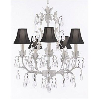 Molinaro 5-Light Candle-Style Chandelier Shade Color: Black