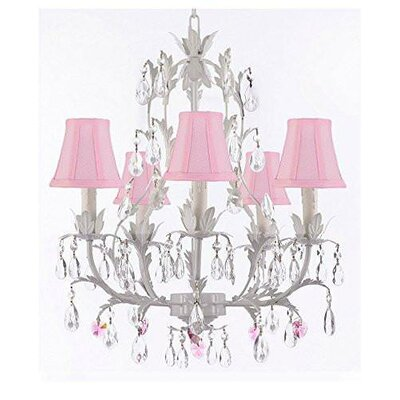 Moldenhauer 5-Light Candle-Style Chandelier Shade Color: Pink, Crystal Color: Pink