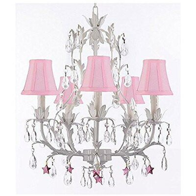 Molina 5-Light Candle-Style Chandelier Shade Color: Black, Crystal Color: Blue