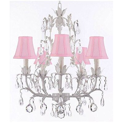 Molinari 5-Light Candle-Style Chandelier Shade Color: Pink