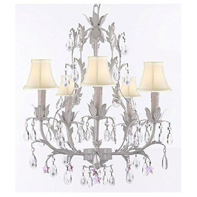Molina 5-Light Candle-Style Chandelier Shade Color: Pink, Crystal Color: Blue