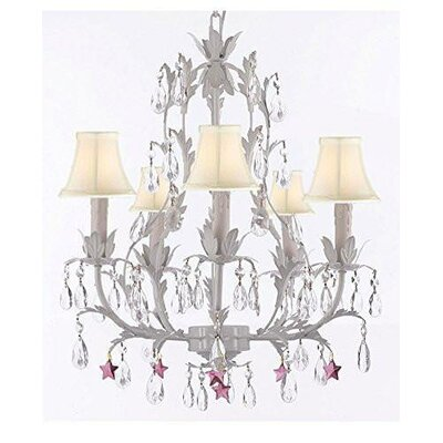 Molina 5-Light Candle-Style Chandelier Shade Color: Cream, Crystal Color: Blue