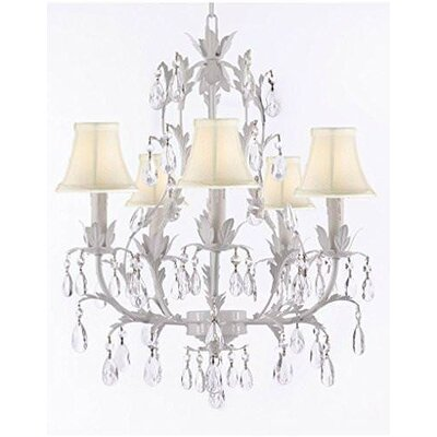 Molinaro 5-Light Candle-Style Chandelier Shade Color: Cream