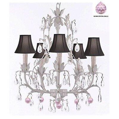 Mollett Floral 5-Light Candle-Style Chandelier Shade Color: Black