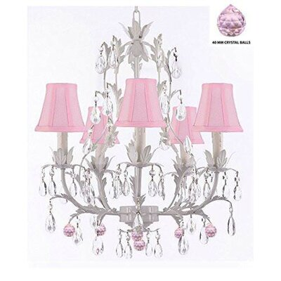Mollett Floral 5-Light Candle-Style Chandelier Shade Color: Pink