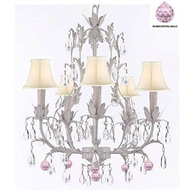 Mollett Floral 5-Light Candle-Style Chandelier Shade Color: Cream