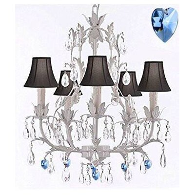 Moldenhauer 5-Light Candle-Style Chandelier Shade Color: Black, Crystal Color: Blue