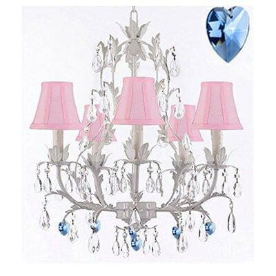 Moldenhauer 5-Light Candle-Style Chandelier Shade Color: Pink, Crystal Color: Blue