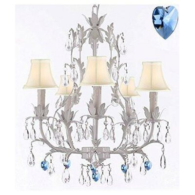 Moldenhauer 5-Light Candle-Style Chandelier Shade Color: Cream, Crystal Color: Blue