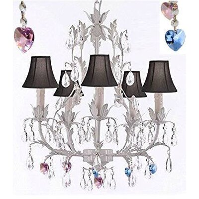 Molloy Floral 5-Light Candle-Style Chandelier Shade Color: Black