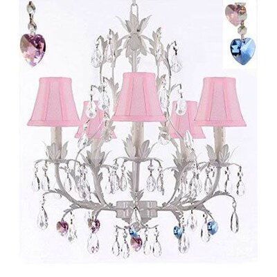 Molloy Floral 5-Light Candle-Style Chandelier Shade Color: Pink