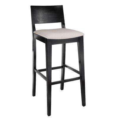 Entrekin 30 Bar Stool Frame Color/Seat Color: Black/Beige