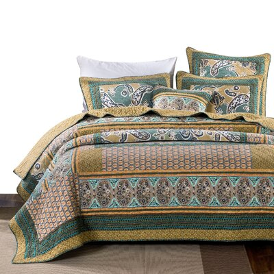 Bohemian Paisley Quilt - Green Tea Dreams Bedspread Set Cotton Patchwork Floral Bright Vibrant Multi Colourful Yellow Blue Olive - Cal King - 3-Pieces