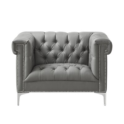 Ledet Club Chair Upholstery: Gray, Finish: Silver Tone