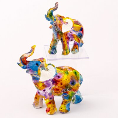 Baddock Tie Dye Elephant 2 Piece Figurine Set A6B22D23A7FA4AFD95F2CAB095D1ACEB