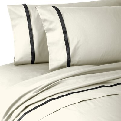 Kiley 400 Thread Count 100% Cotton Sheet Set Size: California King, Color: Ivory/Black