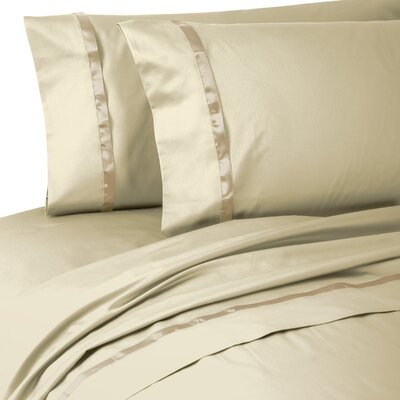 Kiley 400 Thread Count 100% Cotton Sheet Set Size: King, Color: Wheat