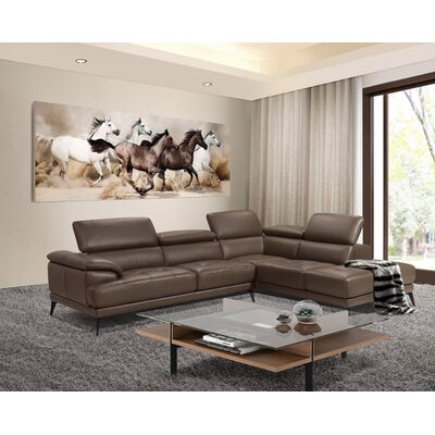 Stedman Leather Sectional Orientation: Right Hand Facing