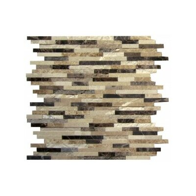 12 x 12 Marble Mosaic Tile in Brown/Black