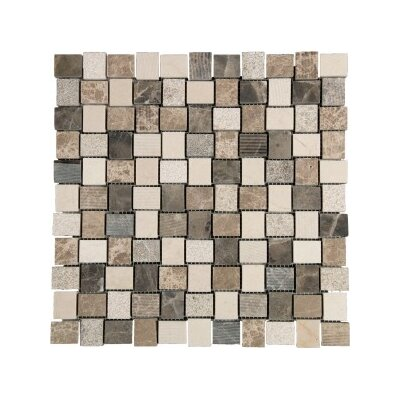 1 x 1 Marble Mosaic Tile in Brown/Cream